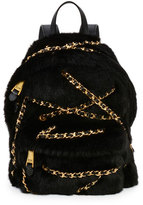 Moschino Chains Faux-Fur Backpack, Black
