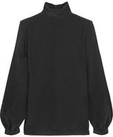 Vanessa Seward Chini Silk Turtleneck Top - Black