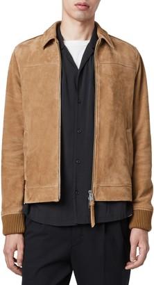 AllSaints Drant Regular Fit Zip Front Suede Jacket