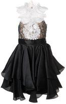 Marchesa embellished ruffle dress - women - Silk - 4