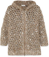 Brunello Cucinelli Hooded Sequined Open-knit Cardigan - Gold