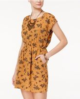 Hippie Rose Juniors' Cutout-Back Floral-Print Dress