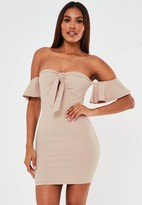 Missguided Camel Tie Front Flutter Sleeve Mini Dress
