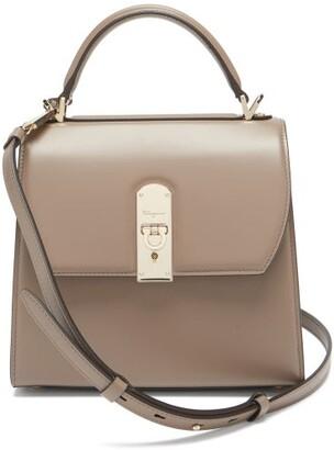 Salvatore Ferragamo Boxyz Medium Leather Box Bag - Brown