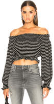 Norma Kamali Cropped Peasant Top