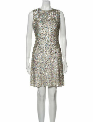 Jenny Packham Silk Mini Dress Silver