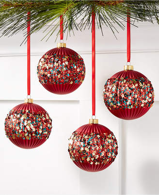 Holiday Lane Christmas Cheer Shatterproof Red Sequin Ornaments, Set of 4