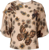 Valentino butterfly and floral print top - women - Silk - 40