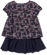 Oscar de la Renta Tweed and Wool Multi Layer Dress