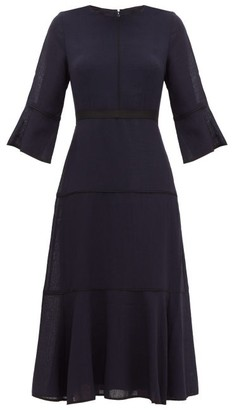Cefinn - Flared-cuff Panelled Muslin Midi Dress - Womens - Navy