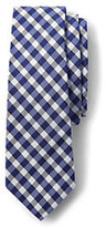 Lands' End Men's Silk Heather Gingham Necktie-Gray Macclesfield