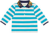 Gucci Baby striped cotton polo with tiger