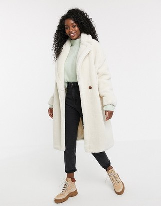 Qed London QED London oversized coat in borg-Cream