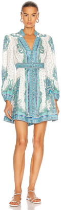 Zimmermann Bells Paisley Short Dress in Blue Paisley | FWRD