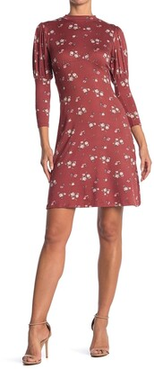 Velvet Torch Floral Mock Neck 3/4 Sleeve Dress