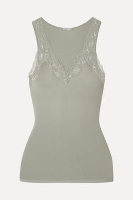 Hanro Lace-trimmed Ribbed Cotton-jersey Camisole - Gray green