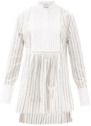 Marina Moscone Striped Cotton-blend Tunic Shirt - White Stripe