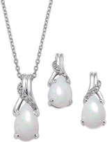 Macy's Opal (1-3/8 ct. t.w.) and Diamond Accent Jewelry Set in Sterling Silver