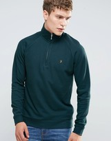 Farah Sweatshirt With 1/4 Zip In Regular Fit Green
