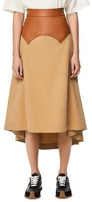 Loewe Obi Leather-Waist Skirt