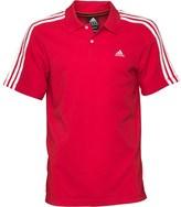 adidas Mens Essentials 3 Stripe ClimaLite Polo Light Scarlet/White