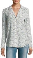 Equipment Keira Long-Sleeve Silk Shirt, White Pattern