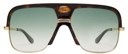 Gucci Gg Navigator Tortoiseshell-acetate Sunglasses - Mens - Tortoiseshell