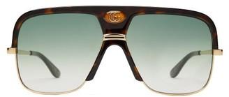 Gucci GG Navigator Tortoiseshell-acetate Sunglasses - Tortoiseshell
