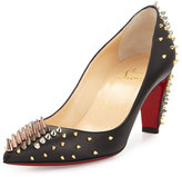 Christian Louboutin Dinosa Spiked Leather Red Sole Pump, Black/Multi