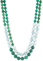 lonna & lilly Gold-Tone Green and White Beaded Layer Necklace