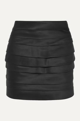 Redemption Cummerbund Pleated Silk-satin Mini Skirt - Black