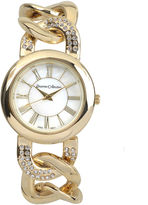 Journee Collection Womens Crystal-Accent Stainless Steel Link Bracelet Watch