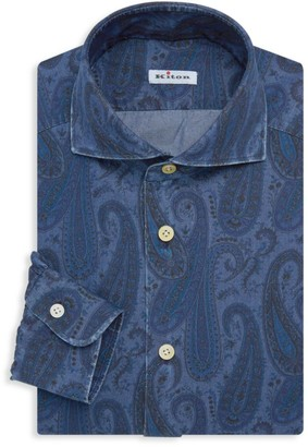 Kiton Contemporary-Fit Paisley Chambray Dress Shirt