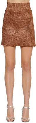 Alberta Ferretti Lurex Rib Knit Mini Skirt