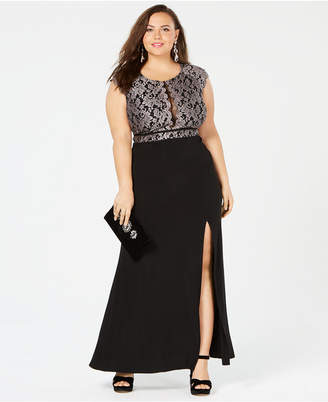 Morgan & Company Trendy Plus Size Glitter Lace Dress