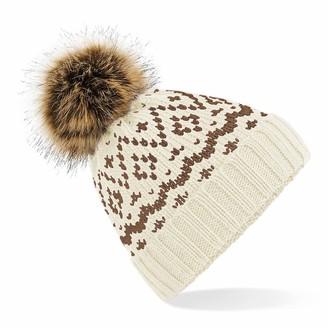 Beechfield B411 Fair Isle Faux Fur Pop Pom Beanie - Off White/Mocha - One Size
