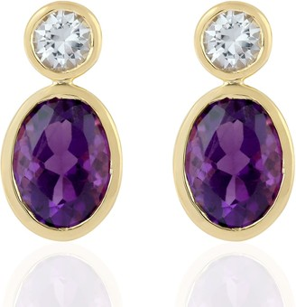 Artisan 18Kt Yellow Gold White Sapphire Amethyst Wome Dangle Earring Handmade Jewelry