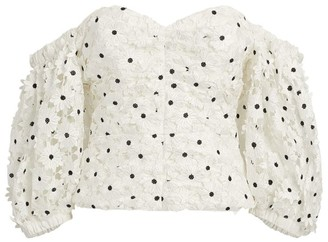 Self-Portrait Daisy Guipure Puff-Sleeved Top