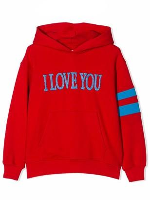 Alberta Ferretti Red Cotton i Love You Hoodie
