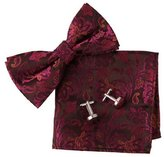 Handmade Design Red Patterned Shandmade Contemporary For Guys Silk Pre-tied Bowtie Cufflink Hanky Set By Epoint