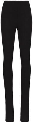we11done Button-Cuff High-Waist Leggings