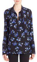Proenza Schouler Floral Print Tie-Neck Blouse