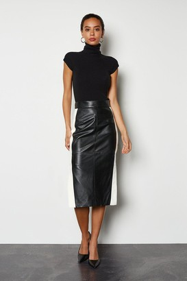 Karen Millen Colourblock Leather Pencil Skirt