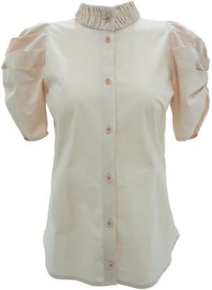 Popsiz Dami Puff Short Sleeve Blouse - Beige Pink