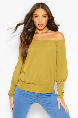 boohoo Tall Off The Shoulder Rib Top