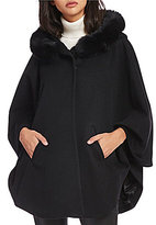 Katherine Kelly Cashmere Blend Fox Fur Trim Hooded Cape