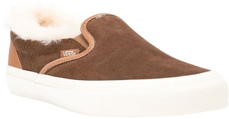 Vans Shearling Trim Brown Classic Slip-on Sneakers