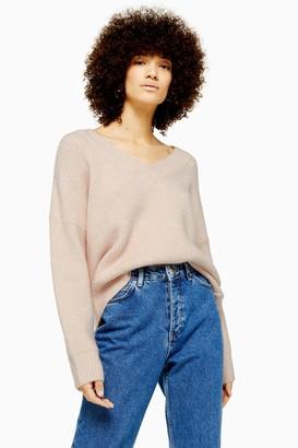 Topshop Womens Pink Knitted Super Soft V Neck Jumper - Pale Pink