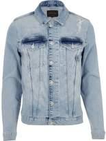 River Island Mens Blue distressed skinny fit denim jacket