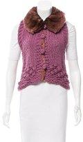 Ermanno Scervino Fur-Trimmed Knit Vest